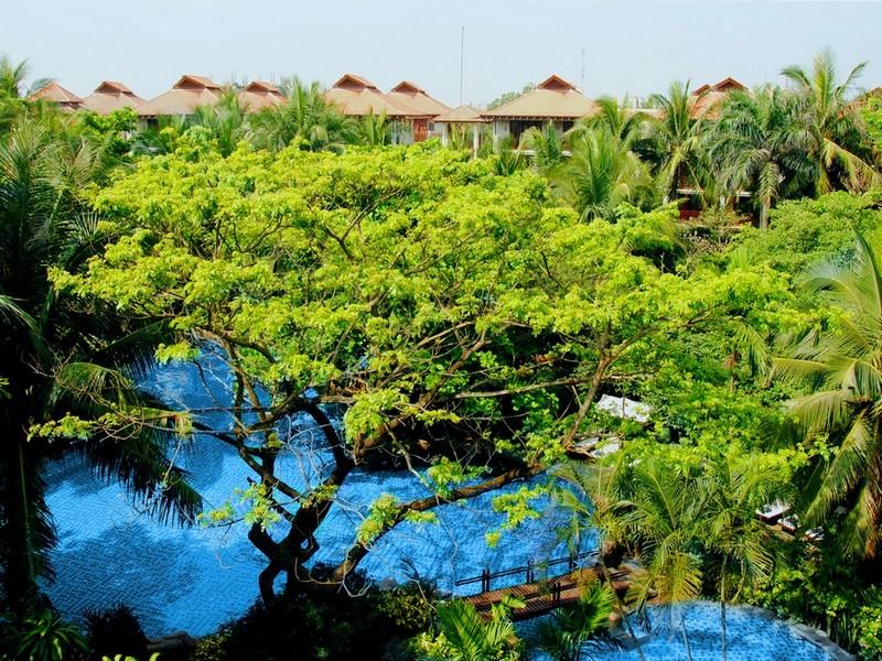 Tận hưởng sự thư thái với hồ bơi giữa khu rừng xanh trong lòng Furama Resort.